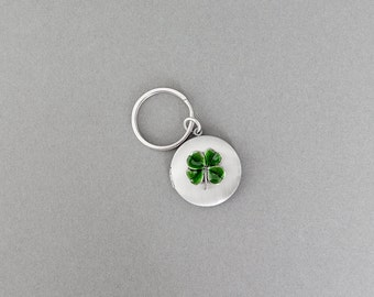 Four Leaf Clover Keychain Locket Keychain Personalize Keychain Clover Gifts Jewelry Groomsmen Anniversary Weddings Gifts for Him Men's Gifts