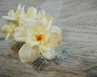 Ivory Birdcage Veil - Floral Wedding Veil - Flower Birdcage Veil - Crystal Veil - Veil for Brides -Short Bridal Veil - Wedding Accessories