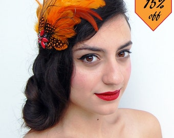 Feather Fascinator-Feather hatinator-Feather headwear-Orange feathers fascinator-Flapper headwear-1920s style-Great gatsby-Flapper style