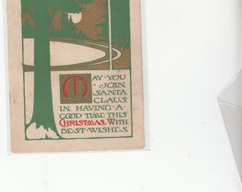 Antique Christmas Postcard Unusual Arts And Crafts Gold Ink 1913