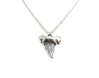 Shark Tooth Necklace, Charm Necklace, Charm Jewelry, Fang Necklace, Shark Tooth Jewelry, Animal Tooth, Silver Shark Tooth, Tooth Necklace