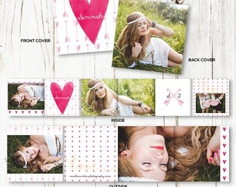 Senior Accordion Mini Template - Valentines Day Template - 3x3 Mini Photo Album - Photoshop Templates - BOOK003 - instant download