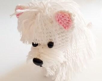 Handmade crochet amigurumi westie dog - MADE TO ORDER -