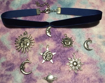 Navy Blue Celestial Velvet Choker