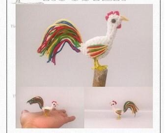 Mini Rooster Pattern, miniature amigurumi