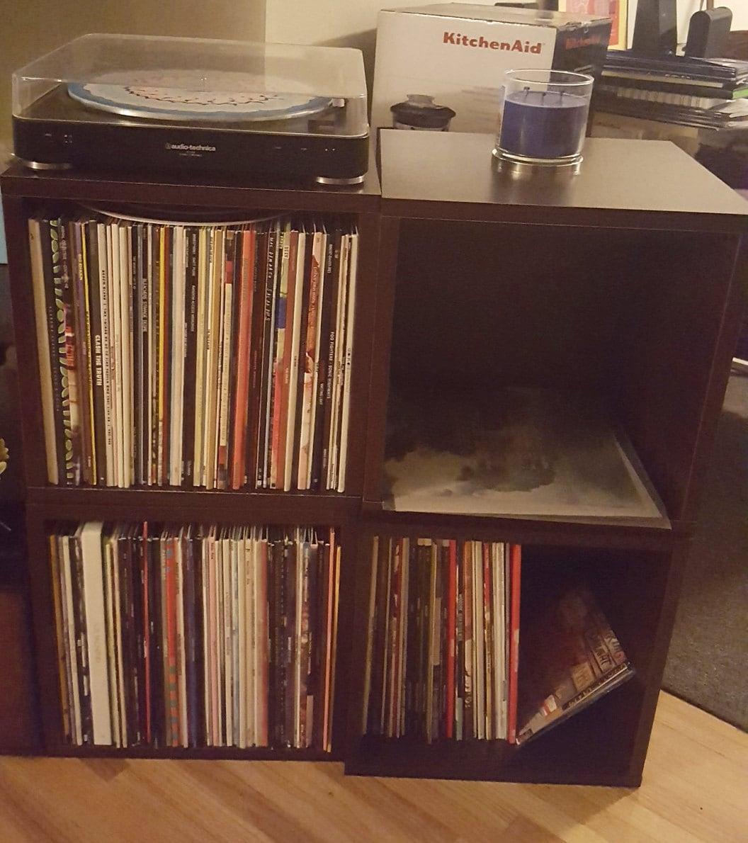 Vintage Style Vinyl Record Storage Cube Stackable Lp Record