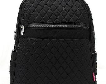 Solid Black Quilted Monogrammed Backpack