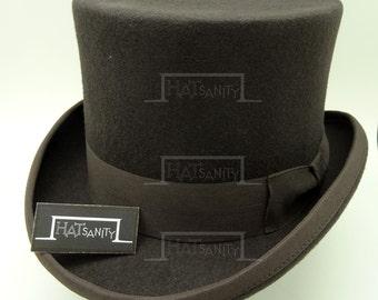 VINTAGE Wool Felt Formal Tuxedo Topper Top Hat - Olive Brown