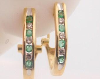 0.50 Carat T.G.W. Round Cut Diamond & Emerald Cluster Earrings 14K