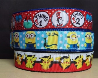 "House Collar - Whippet, Greyhound, Iggy, small to large dog - 1"" width - Adjustable Tag Collar - Pikachu, Minions, Cat in the Hat"