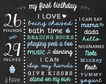 Chalkboard Birthday Stats - Baby's First Year Milestones - 1st Birthday Personalized Board - Silver Birthday Prop - One Year Birthday Facts