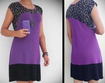 Purple Mini Dress , Animal Print , Viscose , Tunic Short Dress , Long Shirt , Boho Dress , Summer dress , Sundress