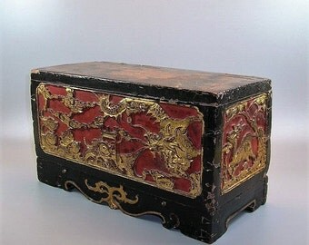 Antique Chinese Gilt and Carved Lacquer Box Qing Dynasty