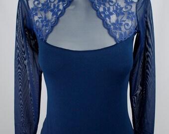 Gorgeous Long Sleeve Lace Bodysuit Top Blouse , leotard,Turtleneck body style thong Body suit