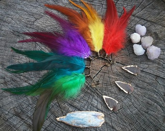 Feather, Earcuff, rainbow, ear, cuff, Natural, earring, free, people, Native, american, style, rainbow, colorful, jacket, boho, bohemian