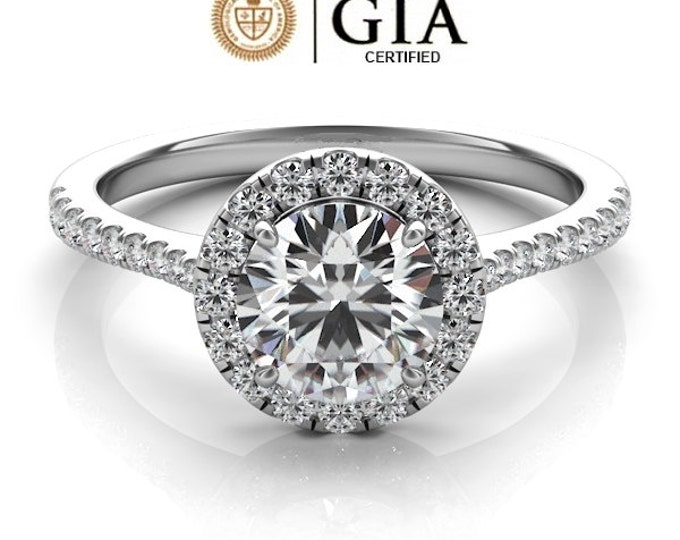 Featured listing image: 1.25 Carat GIA Certified Solitaire Halo Style Engagement Ring in 14K White Gold