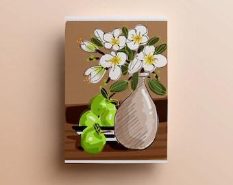Digital kitchen art, printable kitchen art, kitchen illustration, flower illustrtation, digital kitchen wall decor, kitchen art