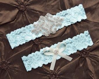 Wedding Garter Set, Bridal Garter Set, Blue Lace Garter, Keepsake Garter, Toss Garter, Something Blue Garter, Crystal  Blue Lace  Garter Set