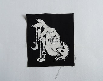 Fortune teller patch -  a handmade, designed, witchy screenprinted patch, white print on black fabric - details: ankh, crescent moon, eye