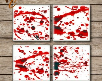 ON SALE Blood Splattered Drink Coasters, Set of 4,  Bloody Horror Scene Ceramic Tiles, Halloween Party Decor, Gag Gift, Zombie Fan, Made To