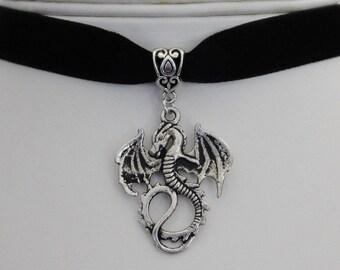 Black Velvet 13mm Dragon Choker Necklace - Gothic