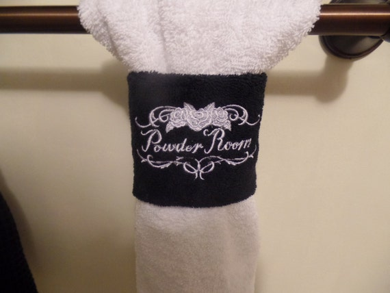 4 embroidered powder room hand towel wrap monogram