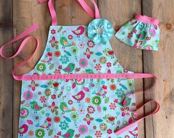 Toddler apron - Little Girl Apron - apron for kids - easter basket gift - reversible apron - child apron - 18 in doll apron - pink apron