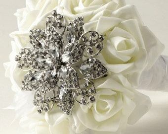 Artificial Ivory Rose and BroochBridal Bouquet. Real Touch Foam flowers,Artificial wedding flowers