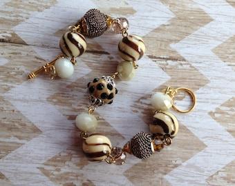 Brown Beaded Bracelet, Glass Bracelet, Brown Bracelet, Beaded Bracelet, Gift For Her