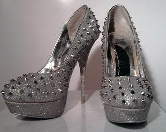 Vintage Silver Spike High Heels