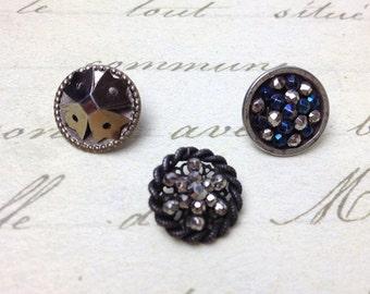 3 Small Antique Steel Cut Era Metal Buttons 14 mm