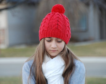Ready to ship! Red valentines hat,  cable hat with pom pom, hand knitted cable hat, cotton beanie, gift for her, cable hat for girls