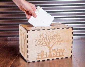 Wedding Card Box, Custom Card Box, Rustic Wood Card Holder, Gift Box, Keepsake Memory Box, Card Chest, Card Holder, Personalized Engraved