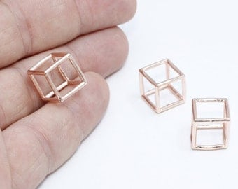1 Pcs 12mm Rose Gold Cube Pendant, Rose Gold Cube Necklace, Open Cube Beads, ROSE380
