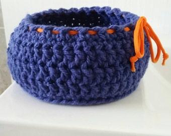 Crochet basket - deep purple or green