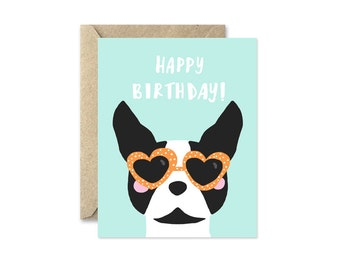 Boston Terrier Card, Happy Birthday with Heart Sunglasses