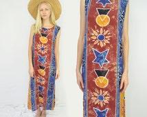 Hippie Chic Sun Moon Dress    RAYON Beach Sun Dress Tie Dye Sunflower Chakra Stars Triangle Pattern Boho Henna Dress