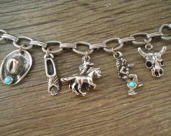Charm Bracelet Western Style Pewter  - [#31 - DC - Box 1]