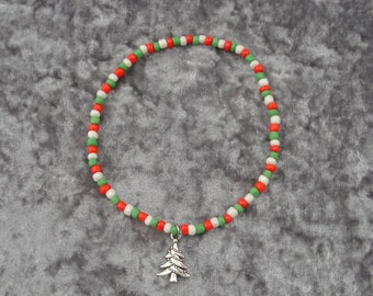 Christmas Tree Charm Seed Bead Stretch Anklet