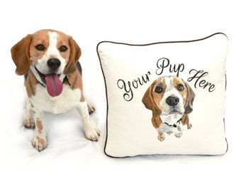 Bespoke Pet Portrait Cushion, dog lover gift. Custom, Personalised, hand painted