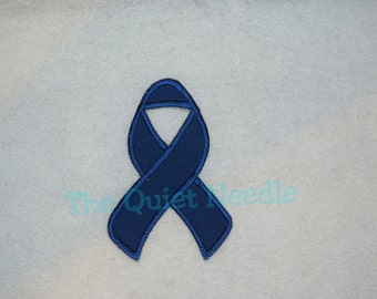 Blue Colon Cancer Awareness Ribbon Iron On Applique Patch Fabric Iron On Patch Sew On Applique Shirt & Tutu Supplies Adults Children Kids