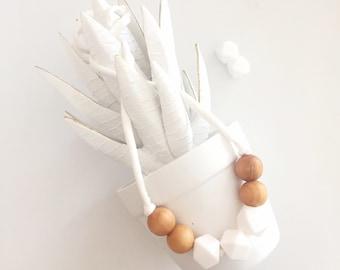 Teething and Nursing Necklace, White teething necklace, Scensory Bead Necklace, Silicone bead necklace. ~ Luna