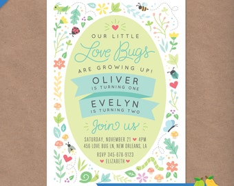 Sibling Love Bugs Printable Birthday Party Invitation // Dual Combo Kids Party // DIY Custom Printable Invite // Ladybug Bee Butterfly Bugs