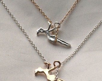CLEARANCE - Simple Silver or Gold Girl on a Swing Necklace- Perfect for Layering!