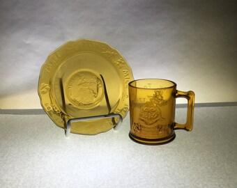 Amber Nursery Rhyme Bowl and Cup Set