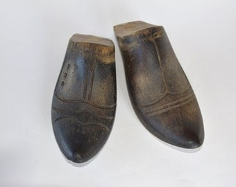 Antique Wooden Shoe Forms - Rare French Vintage Pair of Shoe Forms - Wood Shoe Stretcher