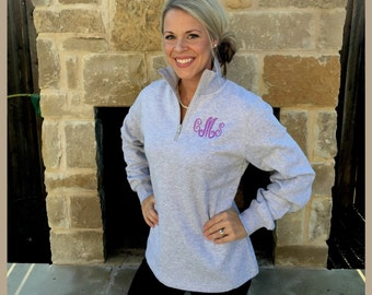 Monogrammed 1/4 quarter zip women's sweatshirt with custom monogram!