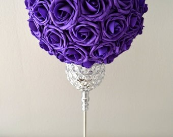 PURPLE Kissing Ball. WEDDING CENTERPIECE. Pomander Flower Ball. Pick your color. Request custom color.