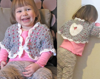 "2T ""Sweetheart"" Shrug Toddler Cardigan / Crochet Baby Sweater / Toddler Girl Bolero Sweater Valentines Outfit White Gray Heart READY TO SHIP"