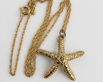 Vintage gold dipped starfish with chain. pdvn799(e)